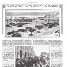 Collectionnisme de Revues et Journaux: 1918 HOJA REVISTA SANTANDER SARDINERO VERANEO PLAZA AUGUSTO G. LINARES GRAN CASINO PEREDA BALANDROS . Lote 136553842