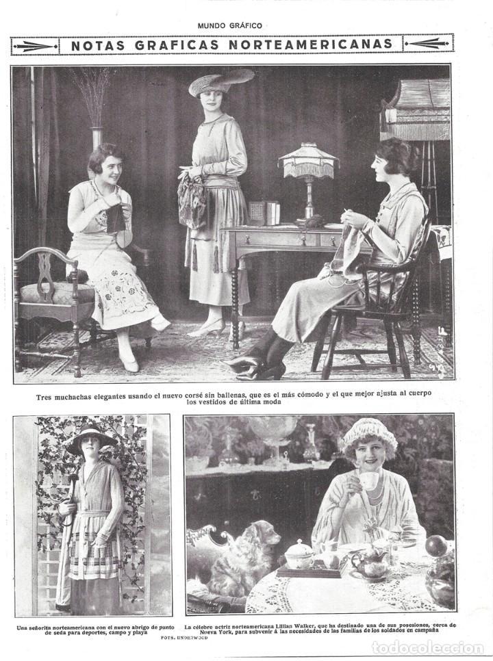 1918 HOJA REVISTA ESTADOS UNIDOS ELEGANTES SEÑORITAS CORSÉ SIN BALLENAS ABRIGO DE PUNTO PARA DEPORTE, usado segunda mano