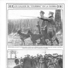 Coleccionismo de Revistas y Periódicos: 1915 HOJA REVISTA PRIMERA GUERRA MUNDIAL PERROS GALGOS DE COURSING CARRERAS OFICIAL SOLDADO INGLESES. Lote 137120190