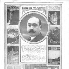 Coleccionismo de Revistas y Periódicos: 1915 HOJA REVISTA MADRID ESCRITOR RICARDO LEÓN NUEVO ACADÉMICO LENGUA MAURA DATO NUNCIO RODRÍGUEZ MA. Lote 137120666