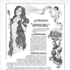 Coleccionismo de Revistas y Periódicos: 1915 HOJA REVISTA PUBLICIDAD ANUNCIO LOCPARABELL CONTRA CAIDA CABELLO FRANCISCO ÁVALOS DEL CAMPO. Lote 137121830