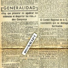 Coleccionismo de Revistas y Periódicos: DIARI 1937 GUERRA CIVIL COMPANYS DIU S' HA DE PROCURAR NO AGUDITZAR LES VILENCIES NI DESPERTAR IRES . Lote 137128738