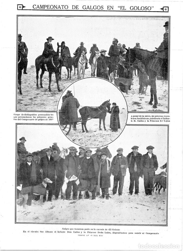 1915 HOJA REVISTA MADRID EL GOLOSO CAMPEONATO DE GALGOS CACERÍA CABALLOS GALGUEROS INFANTE CARLOS segunda mano