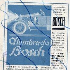 Coleccionismo de Revistas y Periódicos: AUTOMOVILES 1921 ALUMBRADO BOSCH BARCELONA F. XAUDARO HOJA REVISTA. Lote 137516350