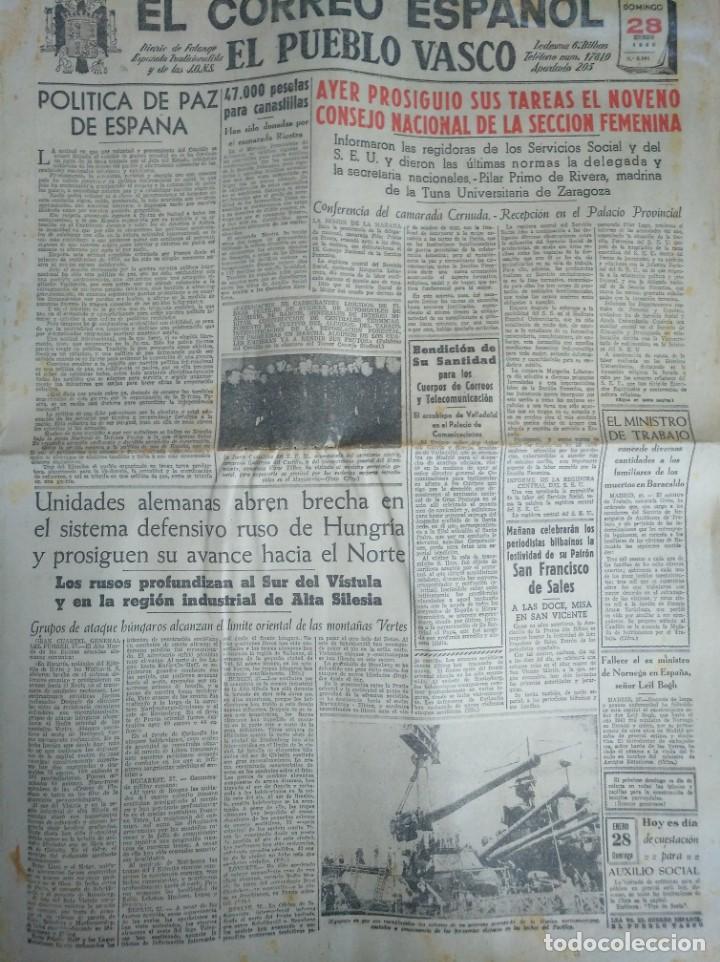 EL CORREO ESPAÑOL, DIARIO DE FALANGE. BILBAO ENERO 1944 SEGUNDA GUERRA MUNDIAL (Coleccionismo - Revistas y Periódicos Modernos (a partir de 1.940) - Otros)