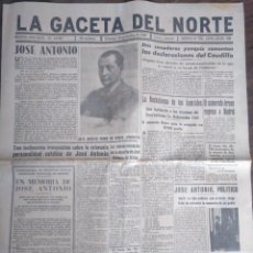 Coleccionismo de Revistas y Periódicos: LA GACETA DEL NORTE, BILBAO. 19/11/1944. JOSÉ ANTONIO PRIMO DE RIVERA. FALANGE . Lote 160752412