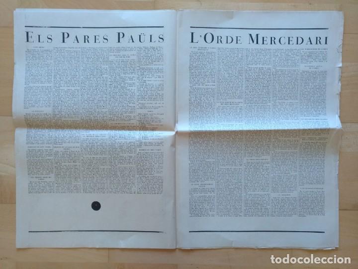 Coleccionismo de Revistas y Periódicos: EL ORDES RELIGIOSOS A CATALUNYA SUPLEMENT D'EL MATI 34 X 52 CM (APROX) 16 PAGINAS. RELIGION - Foto 5 - 139051018