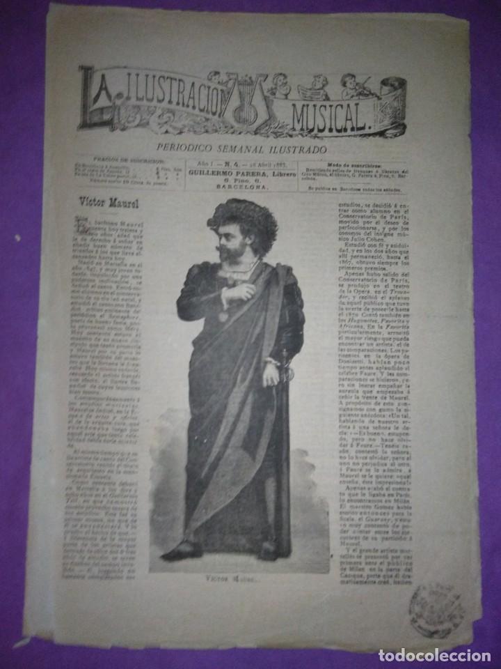496794c5b4 PERIÓDICO SEMANAL ILUSTRADO N 4 1883 VICTOR MAUREL BARITONO (Coleccionismo  ...