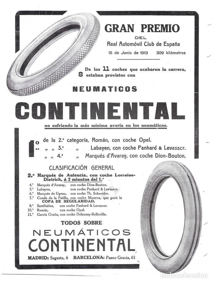 1913 HOJA GUADARRAMA GRAN PREMIO R.A.C.E ANUNCIO NEUMÁTICOS CONTINENTAL REAL AUTOMÓVIL CLUB D ESPAÑA (Coleccionismo - Revistas y Periódicos Antiguos (hasta 1.939))