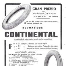 Coleccionismo de Revistas y Periódicos: 1913 HOJA GUADARRAMA GRAN PREMIO R.A.C.E ANUNCIO NEUMÁTICOS CONTINENTAL REAL AUTOMÓVIL CLUB D ESPAÑA. Lote 139323502