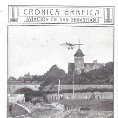 Coleccionismo de Revistas y Periódicos: 1913 HOJA REVISTA SAN SEBASTIÁN AVIACIÓN AEROPLANO AVIADOR MARIUS TERCE SOBRE PALACIO DE MIRAMAR. Lote 139389070