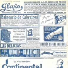 Colecionismo de Revistas e Jornais: 1913 HOJA REVISTA PUBLICIDAD ANUNCIOS NEUMÁTICOS CONTINENTAL GLAXO BALNEARIO DE CABREIROÁ COPPEL. Lote 139409798
