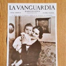 Coleccionismo de Revistas y Periódicos: LAMINA PORTADA LA VANGUARDIA - LA LLORADA REINA ASTRID DE BELGICA - BARCELONA NOTAS GRAFICAS. Lote 139888514
