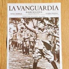 Collezionismo di Riviste e Giornali: LAMINA PORTADA LA VANGUARDIA - MUSSOLINI Y SUS SUEÑOS IMPERIALES EN ROMA - BARCELONA NOTAS GRAFICAS. Lote 139888926