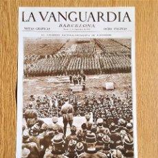 Coleccionismo de Revistas y Periódicos: LAMINA PORTADA LA VANGUARDIA - EL CONGRESO, NACIONALISMO DE NUREMBERG - BARCELONA NOTAS GRAFICAS. Lote 139889894