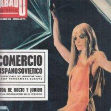 Coleccionismo de Revistas y Periódicos: REVISTA SABADO GRAFICO Nº 695 AÑO 1970. BODA ROCIO DURCAL Y JUNIOR. MARISAMELL.. Lote 140139306