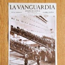 Coleccionismo de Revistas y Periódicos: LAMINA PORTADA LA VANGUARDIA - LA ENTRADA AL TRABAJO EN EL REINA MARIA - BARCELONA NOTAS GRAFICAS. Lote 140320926
