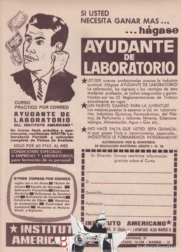 PUBLICIDAD 1962. ANUNCIO INSTITUTO AMERICANO. AYUDANTE DE LABORATORIO (Coleccionismo - Revistas y Periódicos Modernos (a partir de 1.940) - Otros)