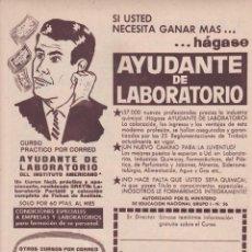Coleccionismo de Revistas y Periódicos: PUBLICIDAD 1962. ANUNCIO INSTITUTO AMERICANO. AYUDANTE DE LABORATORIO. Lote 140596138