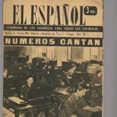 Coleccionismo de Revistas y Periódicos: EL ESPAÑOL. SEMANARIO DE LOS ESPAÑOLES. Nº 502. CONTABILIDAD NACIONAL. 19 JUNIO 1958. (P/B75). Lote 140737678