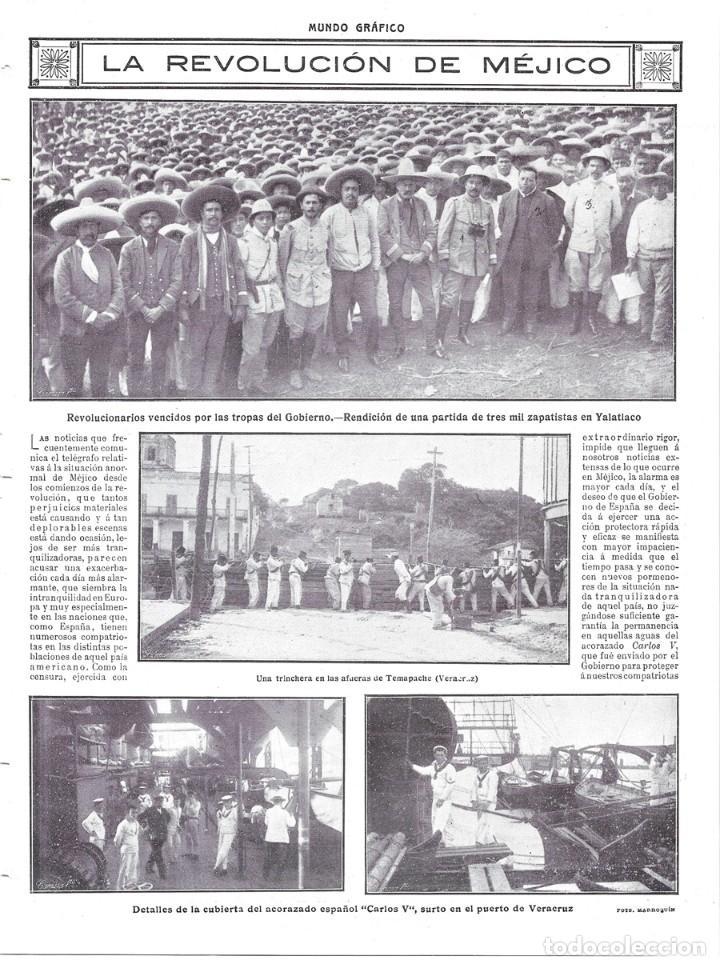1914 Hoja Revist Mejico Revolución Trinchera So Kaufen Alte