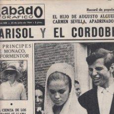 Coleccionismo de Revistas y Periódicos: REVISTA SABADO GRAFICO Nº 408 AÑO 1964. MARISOL Y EL CORDOES. BODA AMADEO DE AOSTA Y CLAUDIA . Lote 142779750