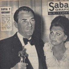 Coleccionismo de Revistas y Periódicos: REVISTA SABADO GRAFICO Nº 342 AÑO 1963. SOFIA LOREN Y GREGORY PECK. . Lote 142784882