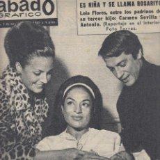 Coleccionismo de Revistas y Periódicos: REVISTA SABADO GRAFICO Nº 371 AÑO 1963.TERCER HIJO DE LOLA FLORES ROSARIYO.CARMEN SEVILLA Y ANTONIO.. Lote 142786482