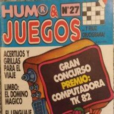 Coleccionismo de Revistas y Periódicos: REVISTA HUMOR Y JUEGOS N'27. Lote 143048189