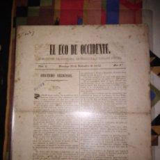 Coleccionismo de Revistas y Periódicos: EL ECO DE OCCIDENTE PERIODICO DE CIENCIAS LITERATURA Y ARTE 1852. Lote 143732758