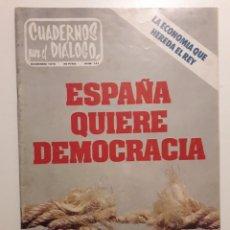 Coleccionismo de Revistas y Periódicos: CUADERNOS PARA EL DIALOGO DICIEMBRE 1975.AÑO INTERNACIONAL DE LA MUJER.DISCOGRAFIA DE CANTAUTORES . Lote 157175304