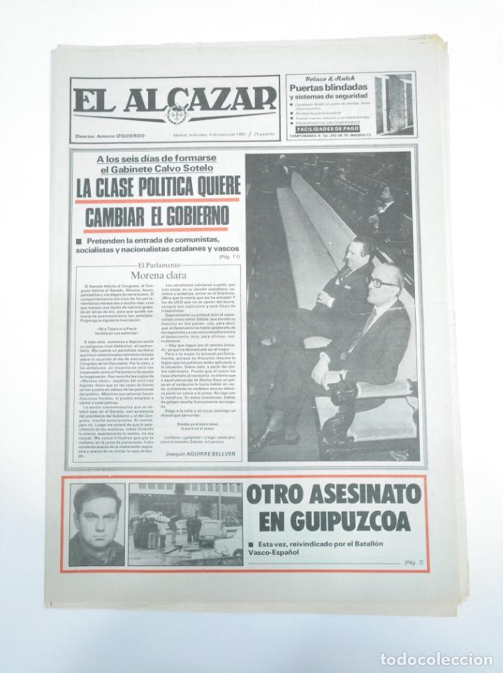 PERIODICO EL ALCAZAR. 4 MARZO 1981. GABINETE DE CALVO SOTELO. CAR132 (Coleccionismo - Revistas y Periódicos Modernos (a partir de 1.940) - Otros)