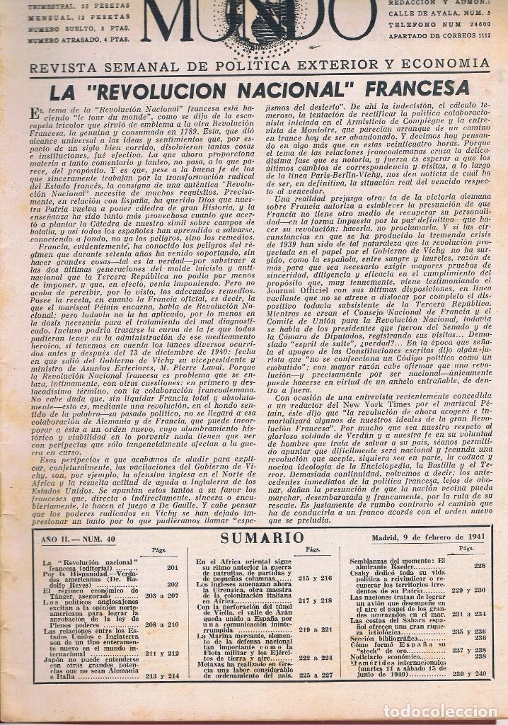 Coleccionismo de Revistas y Periódicos: REVISTA EL MUNDO NÚMERO 40 VER EXPLICACIÓN DE FOTOGRAFÍAS - Foto 2 - 144997654