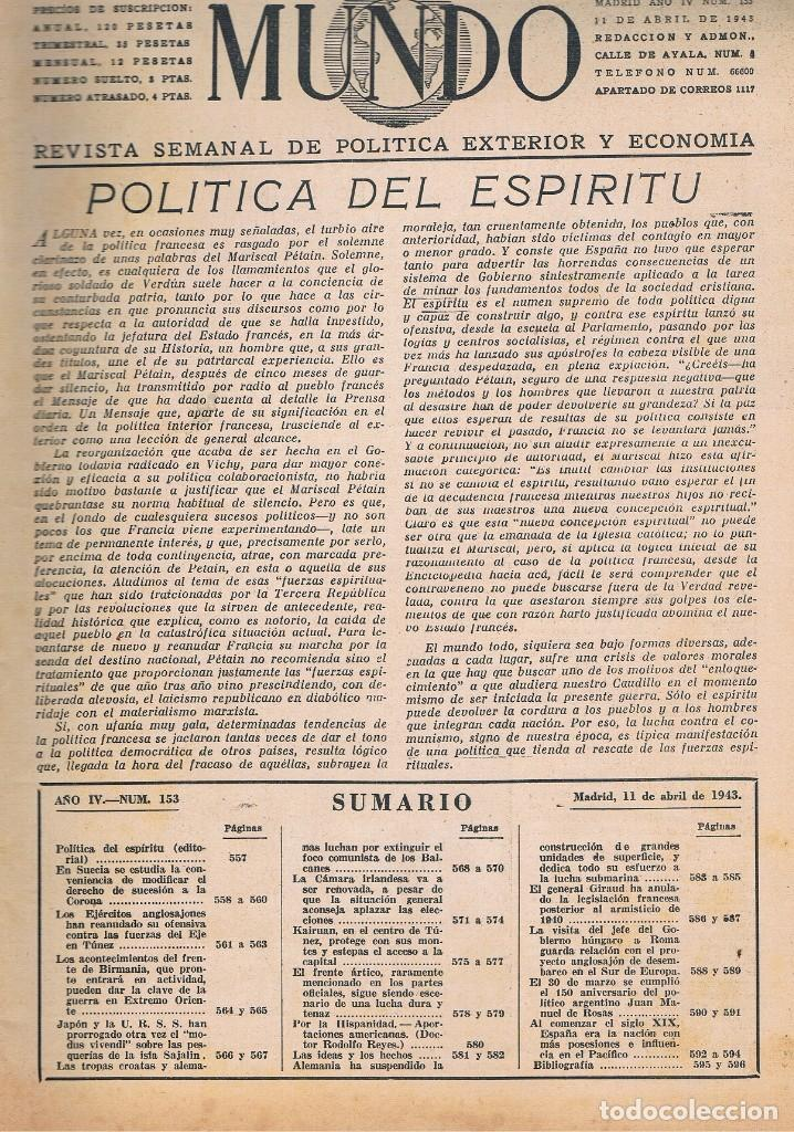 Coleccionismo de Revistas y Periódicos: REVISTA EL MUNDO NÚMERO 153 VER EXPLICACIÓN DE FOTOGRAFÍAS - Foto 2 - 145013954