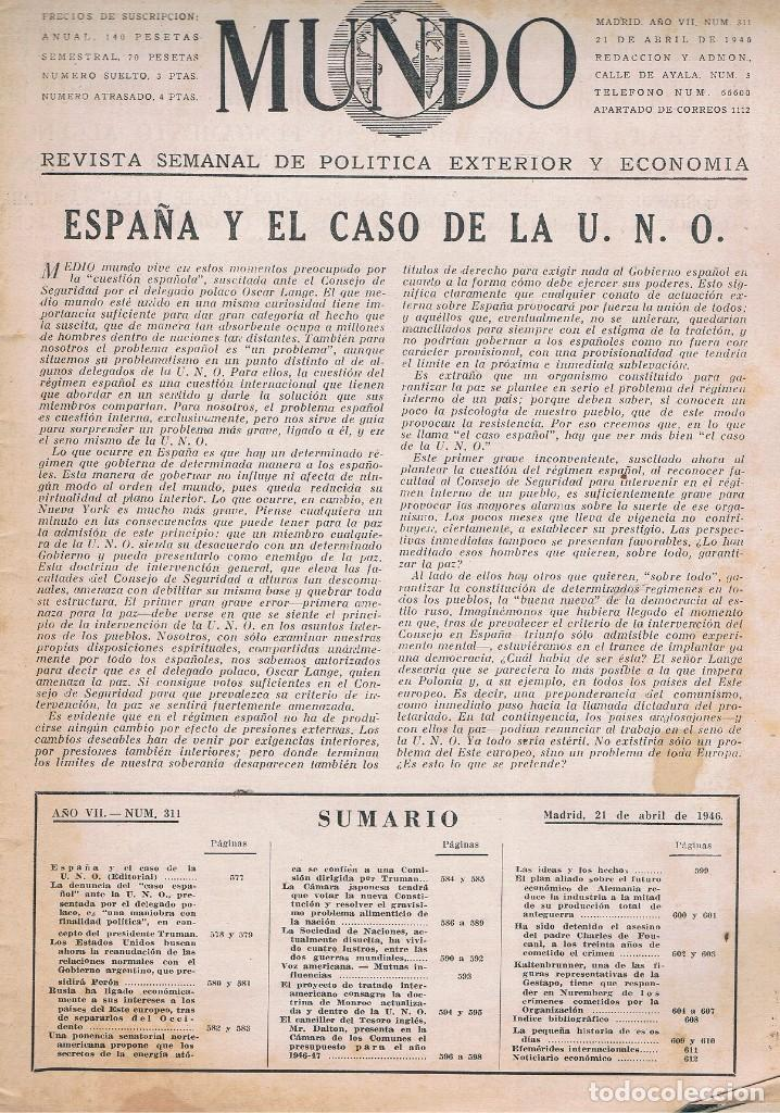 Coleccionismo de Revistas y Periódicos: REVISTA EL MUNDO NÚMERO 311 VER EXPLICACIÓN DE FOTOGRAFÍAS - Foto 2 - 145018982