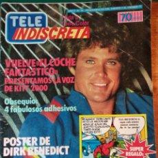 Coleccionismo de Revistas y Periódicos: REVISTA TELEINDISCRETA Nº 34, COMPLETA,EL COCHE FANTASTICO, COMIC EQUIPO A, TELE-INDISCRETA. Lote 145054178