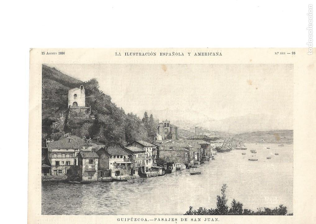 GUIPÚZCOA GRABADO - PASAJES DE SAN JUAN- LA ILUSTRACIÓN ESPAÑOLA Y AMERICANA 1896 (Coleccionismo - Revistas y Periódicos Antiguos (hasta 1.939))