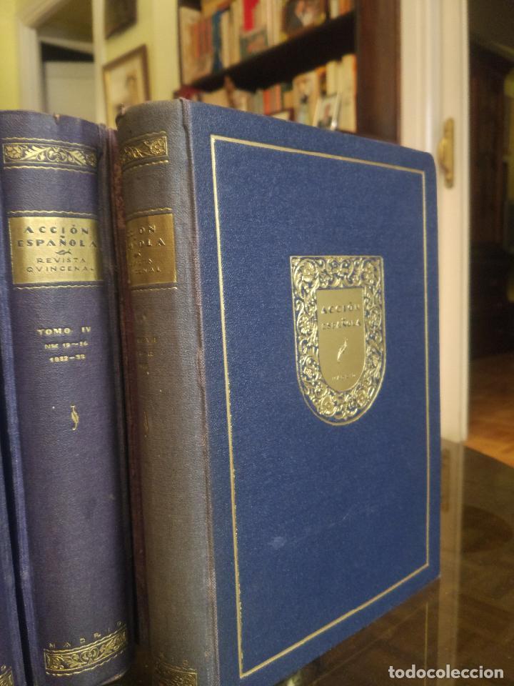 Coleccionismo de Revistas y Periódicos: REVISTA ACCIÓN ESPAÑOLA (COLECCIÓN COMPLETA ENCUADERNADA). 18 TOMOS, INCLUYENDO ANTOLOGÍA. - Foto 3 - 146239082