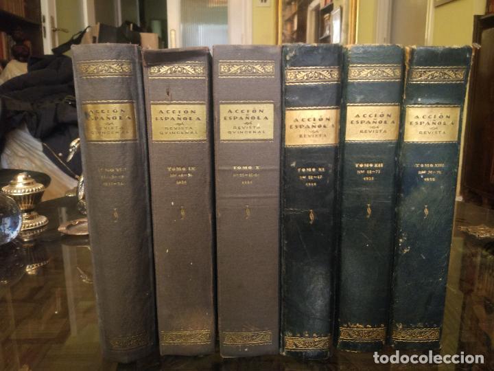 Coleccionismo de Revistas y Periódicos: REVISTA ACCIÓN ESPAÑOLA (COLECCIÓN COMPLETA ENCUADERNADA). 18 TOMOS, INCLUYENDO ANTOLOGÍA. - Foto 6 - 146239082