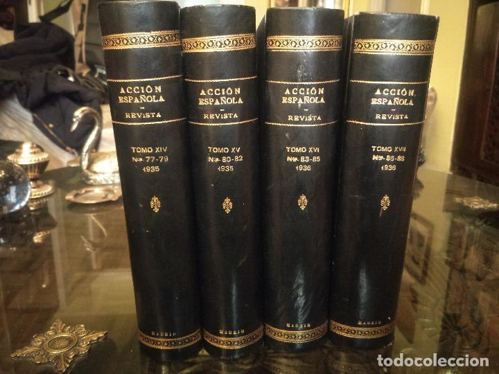 Coleccionismo de Revistas y Periódicos: REVISTA ACCIÓN ESPAÑOLA (COLECCIÓN COMPLETA ENCUADERNADA). 18 TOMOS, INCLUYENDO ANTOLOGÍA. - Foto 7 - 146239082
