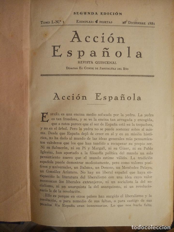 Coleccionismo de Revistas y Periódicos: REVISTA ACCIÓN ESPAÑOLA (COLECCIÓN COMPLETA ENCUADERNADA). 18 TOMOS, INCLUYENDO ANTOLOGÍA. - Foto 12 - 146239082