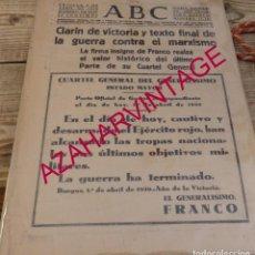 Coleccionismo de Revistas y Periódicos: HOJA ABC DE SEVILLA, 2 DE ABRIL DE 1939, FIN DE LA GUERRA CIVIL. Lote 146629254
