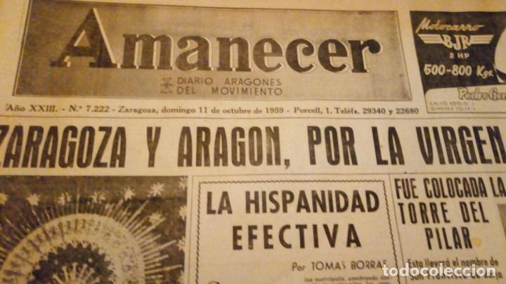 Coleccionismo de Revistas y Periódicos: TORERO FERMIN MURILLO FOTO JALON ANGEL AMANECER DIARIO ARGONES DEL MOVIMIENTO 11 OCTUBRE 1959 - Foto 3 - 146906674