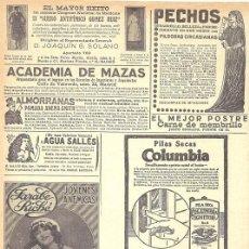 Coleccionismo de Revistas y Periódicos: 1920 HOJA REVISTA PUBLICIDAD ANUNCIOS PILAS SECAS COLUMBIA - JARABE RICHE RECONSTITUYENTE. Lote 146941858