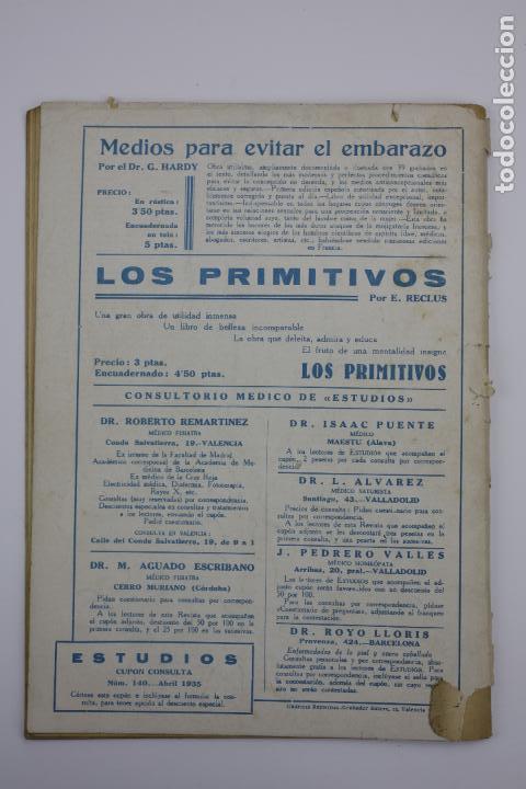 Coleccionismo de Revistas y Periódicos: Revista Estudios, abril 1935, núm. 140, portada de Manuel Monleón, Valencia. 19x26,5cm - Foto 2 - 147152258