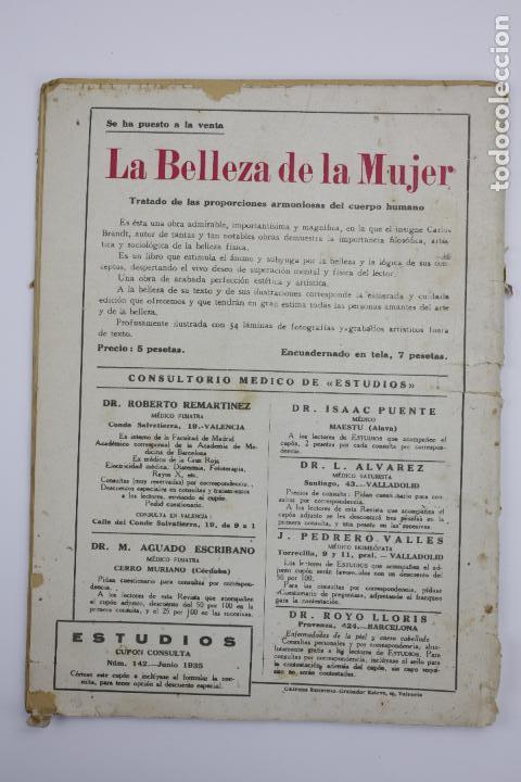 Coleccionismo de Revistas y Periódicos: Revista Estudios, junio 1935, núm. 142, portada de Manuel Monleón, Valencia. 19,5x26,5cm - Foto 2 - 147155530