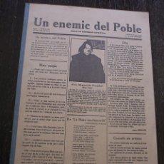 Coleccionismo de Revistas y Periódicos: FACSIMIL - UN ENEMIC DEL POBLE - NÚMEROS 1 A 18 - AÑOS 1917 A 1919 - MUY BUEN ESTADO. Lote 147226450