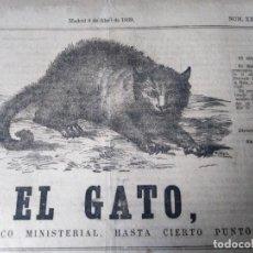 Coleccionismo de Revistas y Periódicos: EL GATO PERIODICO MINISTERIAL HASTA CIERTO PUNTO 1869 NUM XXV SATIRICO. Lote 147515562