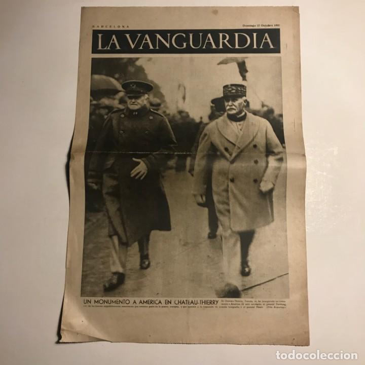 LA VANGUARDIA 1937. GUERRA CIVIL ESPAÑOLA. UN MONUMENTO A AMÉRICA EN CHATEAU THIERRY (Coleccionismo - Revistas y Periódicos Antiguos (hasta 1.939))