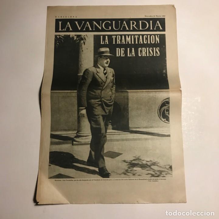 LA VANGUARDIA 1937. GUERRA CIVIL ESPAÑOLA. LA TRAMITACIÓN DE LA CRISIS (Coleccionismo - Revistas y Periódicos Antiguos (hasta 1.939))